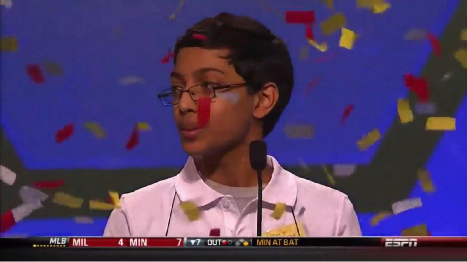 Spelling Bee contestant with confetti