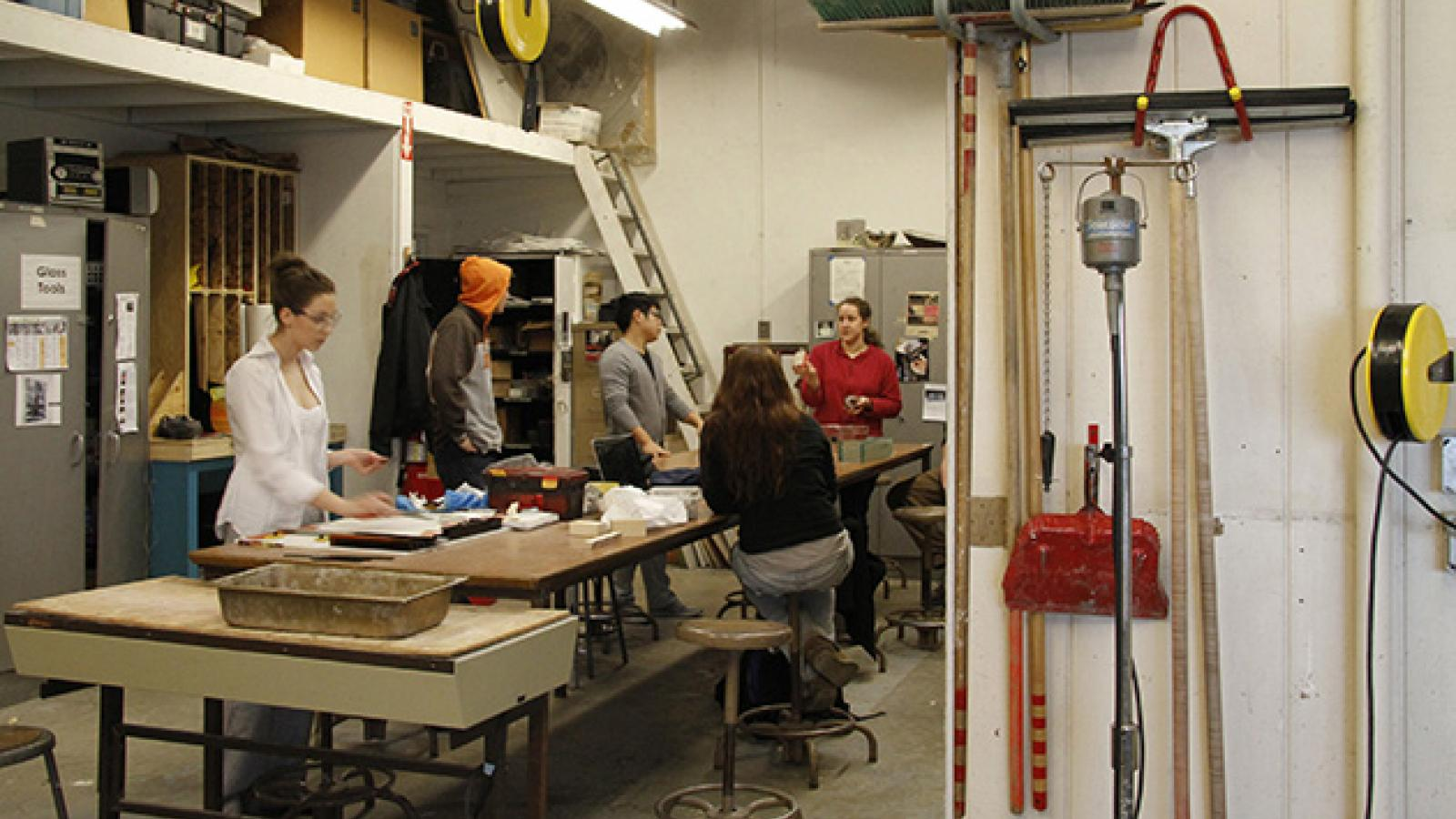 Students working in Glass area at Sherman Studio Art Center
