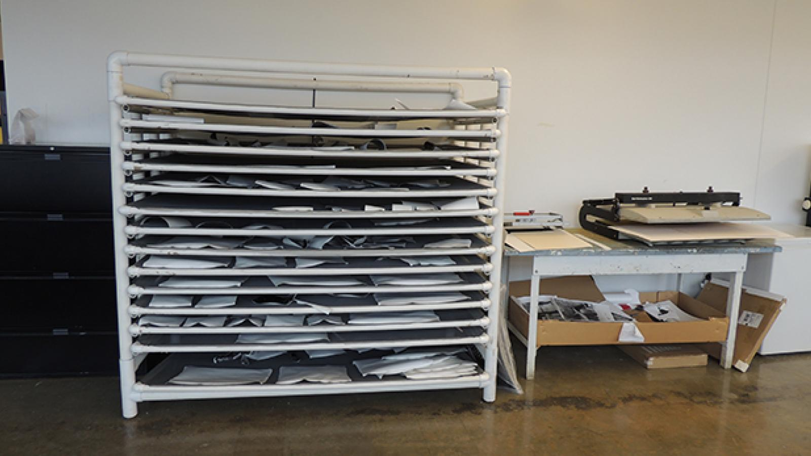 Photo drying racks in studio